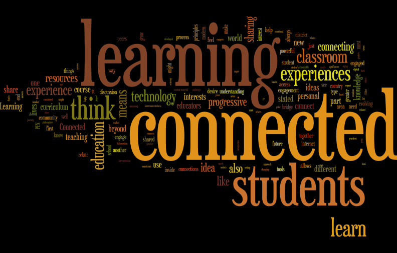 "Wordle image created from our ED677 collection of ""What does connected learning mean to you"" writing."